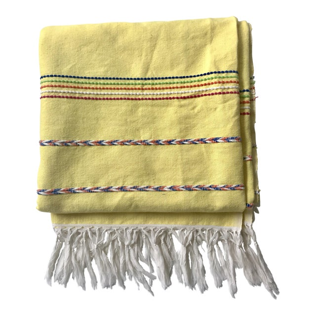 Yellow Throw Blanket With Fringe For Sale