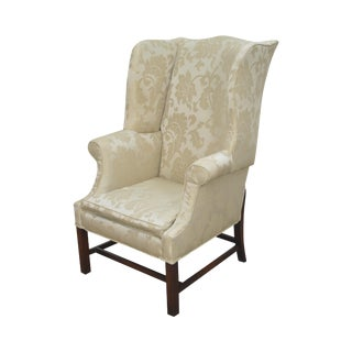 Chippendale Style Custom Quality Mahogany Wing Chair For Sale