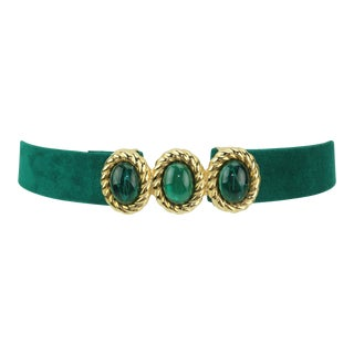 1980s Vintage Mimi DI N Emerald Green & Gold Buckle With Belt For Sale