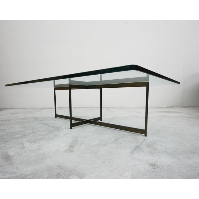 1970s Mid Century Minimalist Italian Bronze Base Coffee Table For Sale - Image 5 of 10