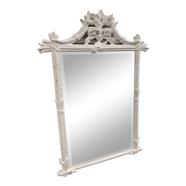 Vintage White Pagoda Chinese Chippendale Mirror For Sale