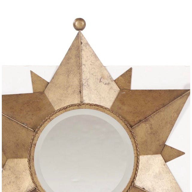 Metal Contemporary Gold-Tone Metal Star Shaped Accent Mirror For Sale - Image 7 of 9