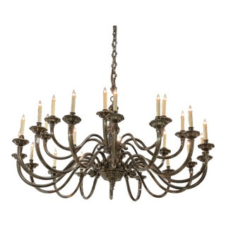 Large Metal Chandelier From London For Sale
