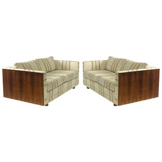 Milo Baughman Floating Cased Rosewood Tuxedo Sofas / Settees - a Pair For Sale