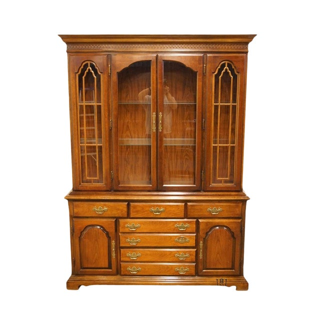 20th Century Traditional Bernhardt Furniture Solid Cherry Buffet With Illuminated Display China Cabinet For Sale