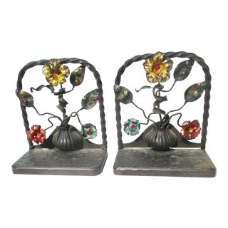 Arts and Crafts Wrought Iron and Polychrome Bookends - a Pair For Sale