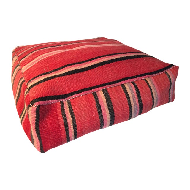 Red Moroccan Kilim Floor Pillow #2 For Sale