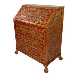 18th Century Spanish Baroque Red & GIlt Painted Slant Front Desk For Sale