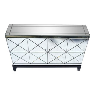 Antiqued Mirrored Bar Cabinet Console on Stand For Sale