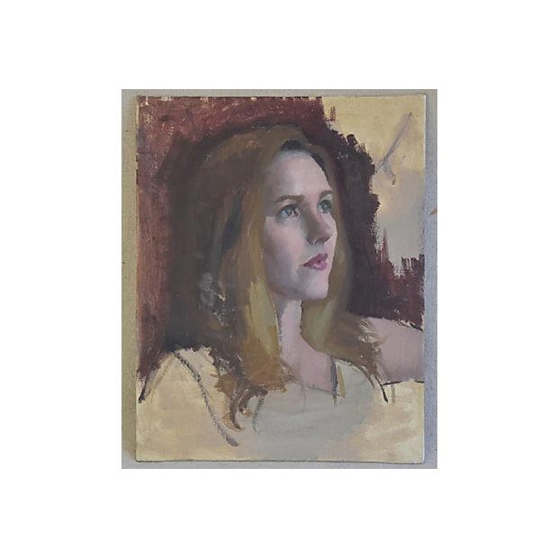 Vintage Female w/ Auburn Hair Portrait Oil Painting Study - Image 4 of 6