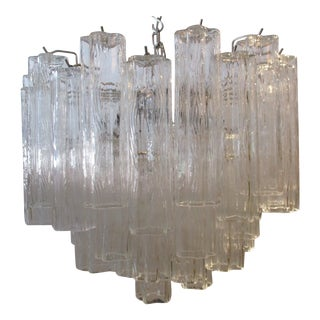 Vintage 1970s Vennini Murano Glass Tronchi Tubes Three Tier Chandelier For Sale