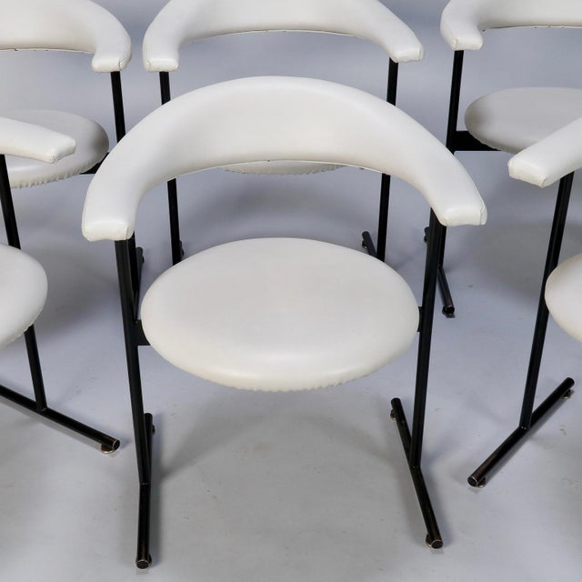 Animal Skin Mid-Century Streamlined Arm Chairs with Black Metal Frames- Set of 6 For Sale - Image 7 of 9