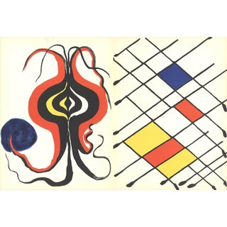 1971 Alexander Calder 'Derriere Le Miroir No. 156' Contemporary Black & White,Blue,Yellow,Red France Lithograph For Sale
