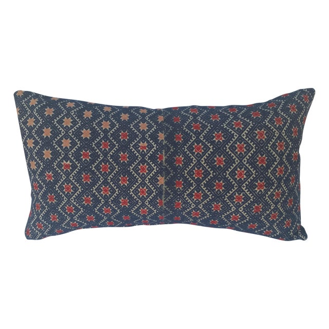 Indigo Red Star Embroidered Pillow - Image 1 of 5
