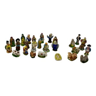 French Provençal Faïence Fèves Christmas Nativity Set, Multiples Available For Sale