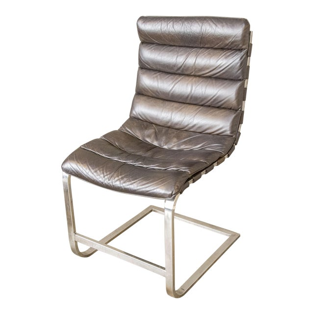 Modern Oviedo Leather Side Chair For Sale