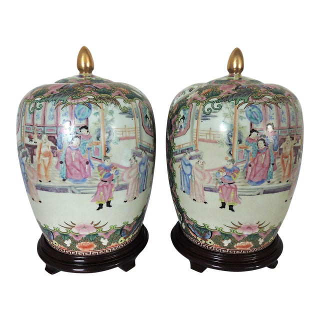 Rose Mandarin Ginger Jars on Rosewood Stands - a Pair For Sale