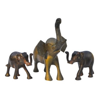 Vintage Brass Elephants- S/3 For Sale