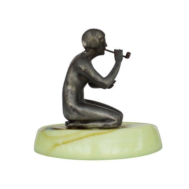 Nude Art Deco Smoking Flapper Slag Glass Ashtray by Houzex - Image 2 of 7