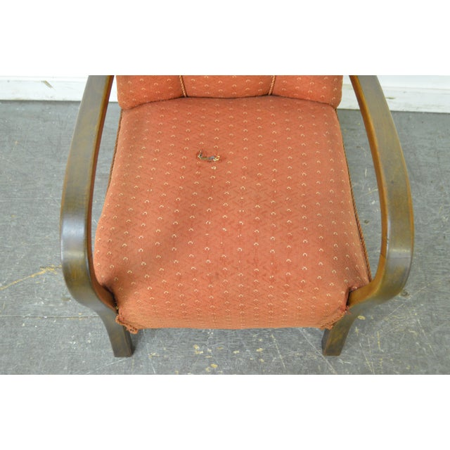Art Deco Style Pair of Open Arm Lounge Chairs - Image 5 of 10