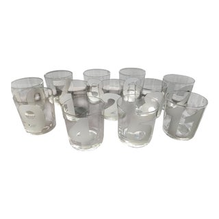 Modern Old Fashioned Numerology Glasses - Set of 12 For Sale
