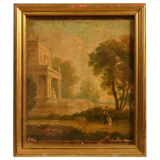 19th Century Small Framed Painting on Wooden Panel For Sale