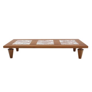 Large Rectangular Coffee Table on Heavy Legs with Marble Inserts For Sale