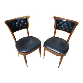 Shelly Williams Tufted Leather Side Chairs - A Pair