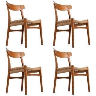 Early Hans Wegner Dining Chairs Model Ch-23 by Carl Hansen & Son, Denmark - Set of 4 For Sale