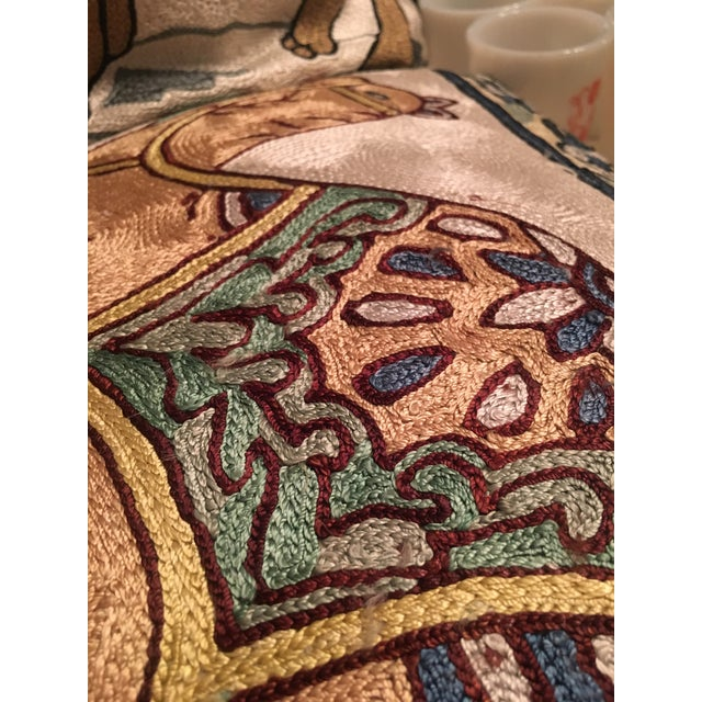 Silk Embroidered Ari Pillows - A Pair - Image 10 of 11