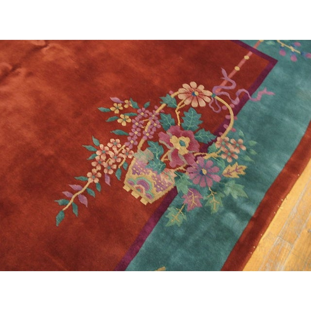 """Art Deco Antiique Chinese Art Deco Rug 8'0"""" X 9'8"""" For Sale - Image 3 of 6"""