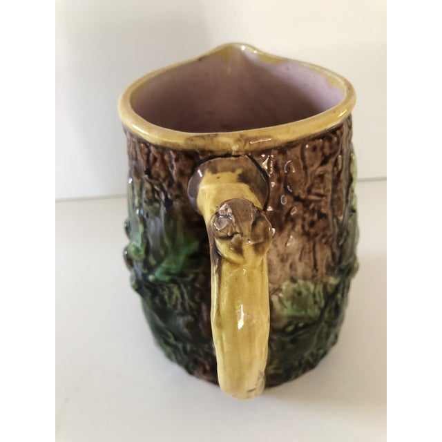 English Antique Majolica Oak Leaves and Acorns Pitcher For Sale - Image 3 of 9