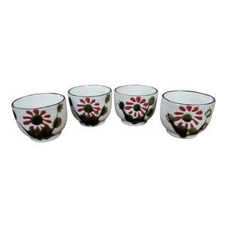 Vintage 1960's Japanese Armbee Stoneware Floral Motif Tea Cups - Set of 4 For Sale