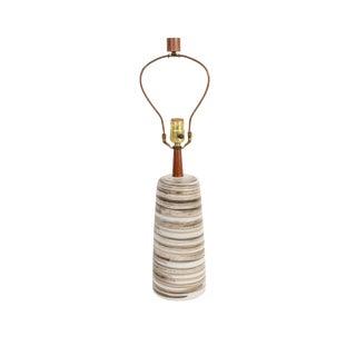 1960s Boho Chic Marshall Studios Martz Ceramic and Walnut Lamp For Sale