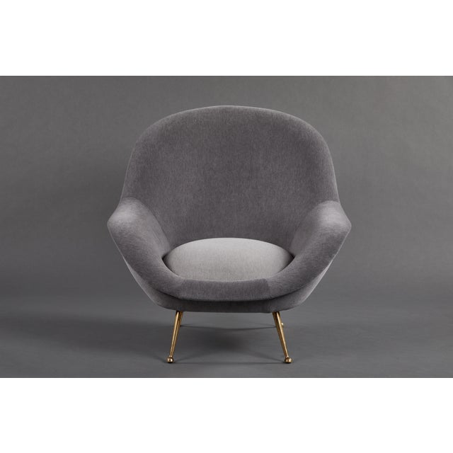 Metal An Elegant Italian Suite of a Petite Sofa and Two Armchairs With Matching Ottomans For Sale - Image 7 of 13