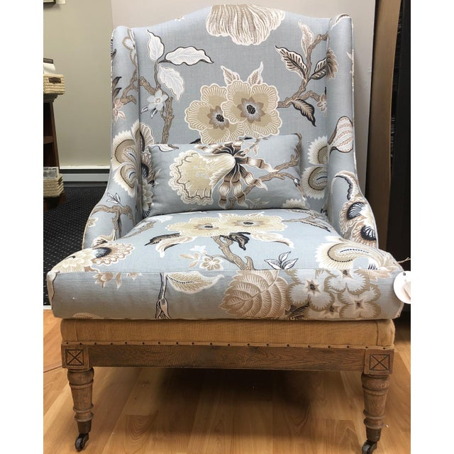 This stunning custom piece livens any space. The combination of floral Schumacher fabric with rustic cross-hatching on the...