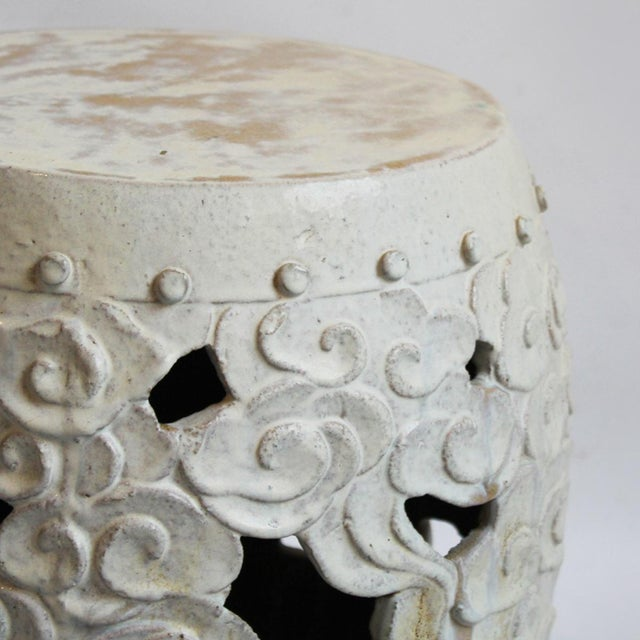 Asian Modern White Ceramic Garden Stool - Image 2 of 2