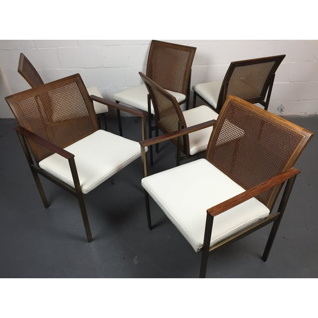 Paul McCobb Cane & Leather Dining Chairs - S/6 - Image 4 of 11