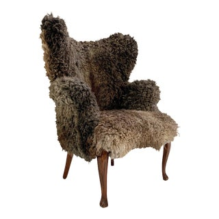 Vintage Nick Cave Wingback Armchair Restored in California Sheepskin For Sale