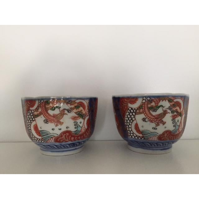 Asian Antique Japanese Imari Porcelain Colored Tea Cups - a Pair For Sale - Image 3 of 7
