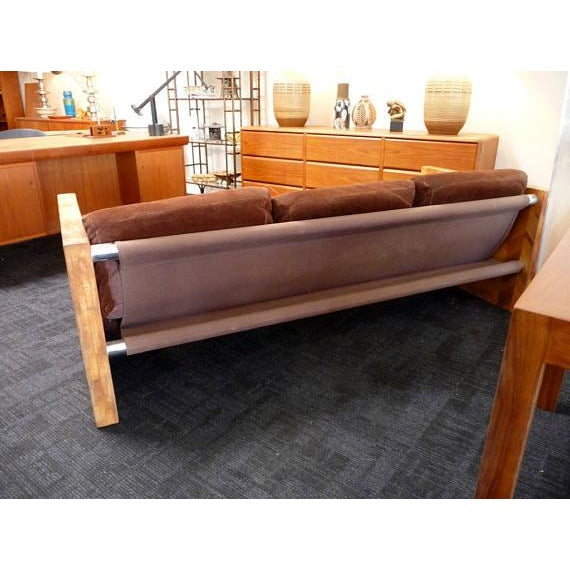 1970s Brown Suede & Wood Sofa For Sale - Image 5 of 6