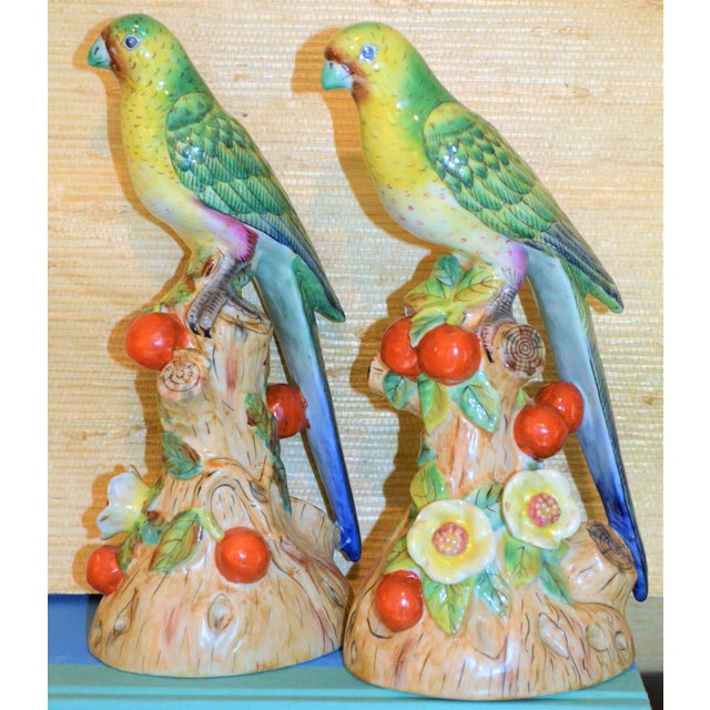1980s 1980s Vintage Green Majolica Parakeets Figurines - a Pair For Sale - Image 5 of 8