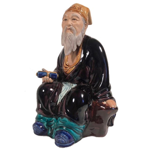 Figurative Vintage Large Chinese Hand Painted Mudman Figure For Sale - Image 3 of 13