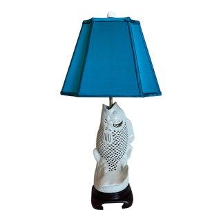 Blanc De Chine Koi Fish Lamp & Shade For Sale