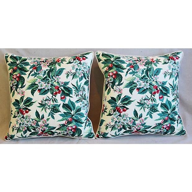 "Custom Tailored Schumacher Cherry Blossom Feather/Down Pillows 23"" Square - Pair For Sale - Image 9 of 11"