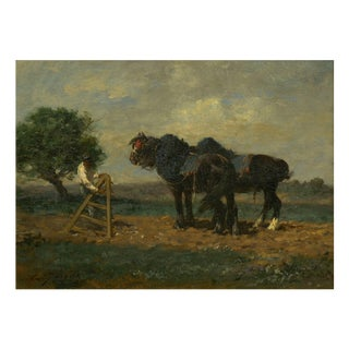 """""""Preparing the Plow"""" Antique Painting of Horses by Émile Jacque (French, 1848-1912) For Sale"""