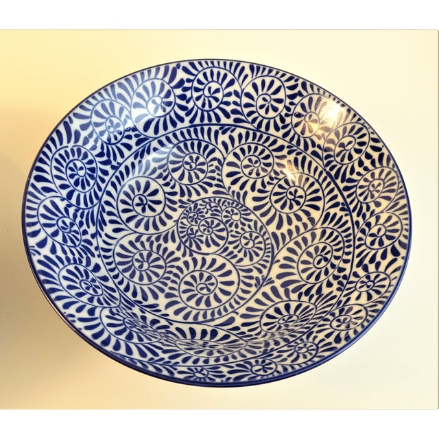 Asian Chinoiserie Blue & White Serving Bowls - A Pair For Sale - Image 3 of 11