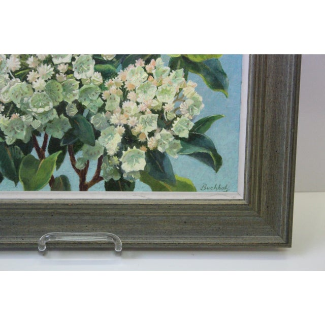Rustic Mountain Laurel and Sky Oil Painting by Buchholz For Sale - Image 3 of 6