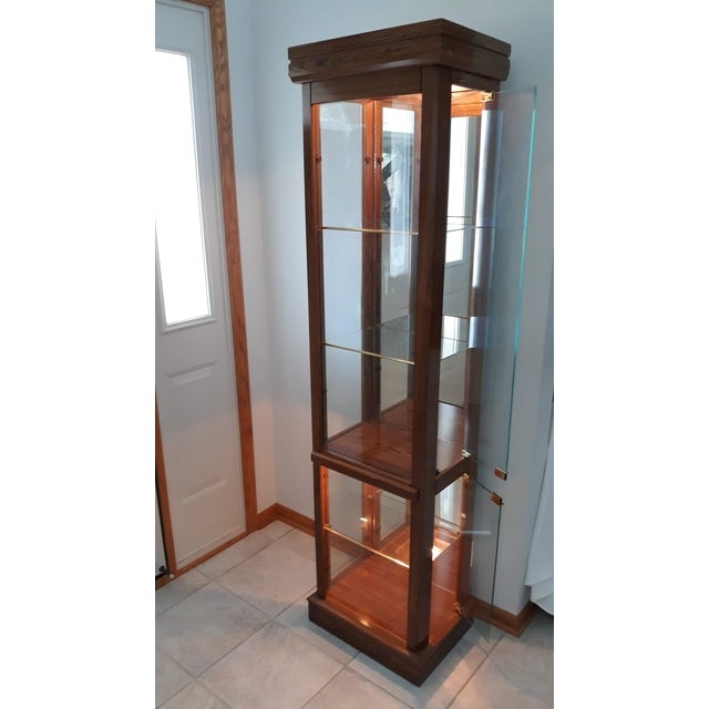 Wood Rectangular Wood & Glass Curio Cabinet For Sale - Image 7 of 9