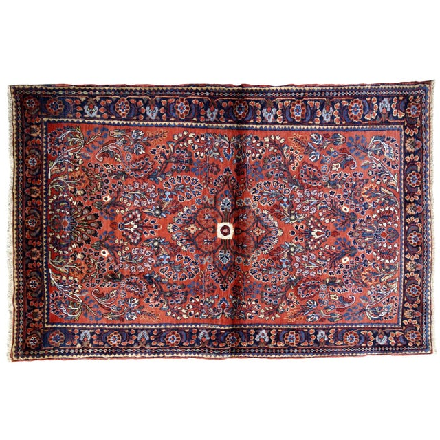 1920s, Handmade Antique Persian Sarouk Rug 3.2' X 5.2' For Sale - Image 9 of 10